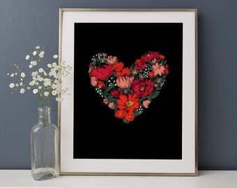 REDUCED PRICE, Heart Garden, Valentines Gift, Wall Art, Home Decor, Sentimental Gift for Her, Flowers, Wall Art Print, 8x10""