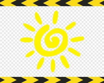 Sun SVG Clipart Decal Sticker Summer SVG Clip art Dxf Pdf Png files