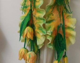 Felted 100% Wool scarf Handmade Tulips