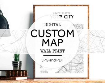 Custom City Map, Custom Map Print, Custom Map Art, Custom Print Quote, City Maps, Maps Of Cities, Custom Poster Print, Custom Printable