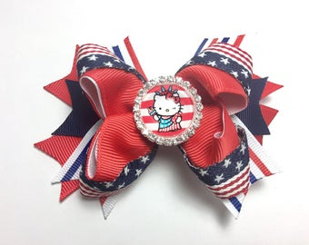 Hello Kitty Handmade Hair Bow w/ Rhinestone Embellishment Cabochon 4th of July Red White Blue