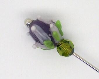 Scarf Hat Pin Brooch Purple Lampwork Flower Bud