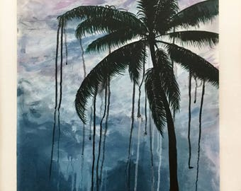 """Clouds and Palm// Original Acrylic Painting// 24""""by20""""// MDF Board"""