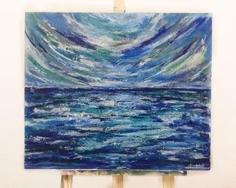 "Ocean Blue// Original Acrylic Painting// 20""by24"" // MDF Board"