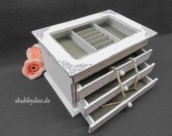 Jewelry box white wood shabby chic decorated with glass and 3 drawers with ornaments