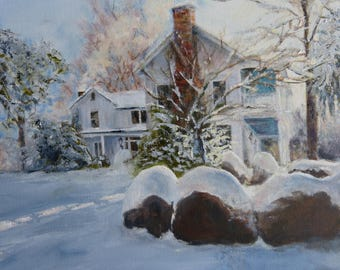Signed Art Print with house and snow