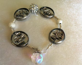 "Silver Tone Bracelet   Handmade   7 1/2""  Bracelet    Birthday Gift    Mother's Day Gift   A Gift for Her    Everyday Ornament"