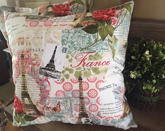 Paris Themed Pillows-France-Eiffel Tower-Handmade-Decorative Pillow-17x17