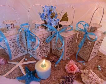 Set of 10 Mini candle lanterns,mini lanterns, wedding decoration,nautical wedding,sea wedding,mini candle holder,candle lanterns,beach decor