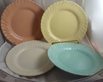 4 Franciscan Coronado Luncheon Plates Multicolored