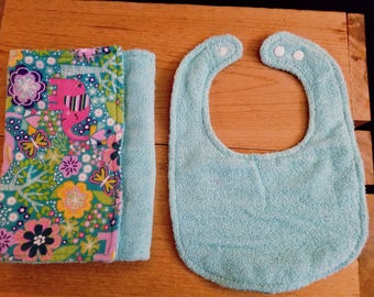 Set of 2  Flannel Cotton/Terry Cloth Burp Cloth and Bib/Whimsical Print