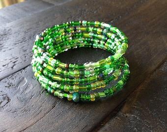 Multi green glass beaded memory wire bracelet