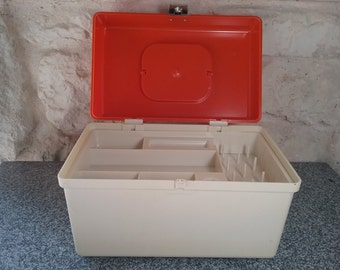 Box sewing CURVER Vintage, 1970s, orange and ivory vintage worker