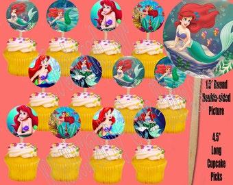 Disney Princesses Cupcake Picks, One Dozen 12 pcs, Choose Little Mermaid, Snow White, Cinderella, Belle, Beauty & the Beast, Sofia the First