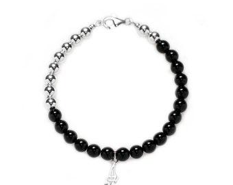 Black Obsidian Sterling Silver Bracelet, Custom Bracelet, Personalized Bracelet, Initial Bracelet, Gift for Her
