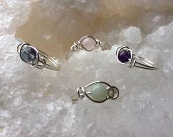 Fluorite, Amethyst, Amazonite, Rosequartz ring