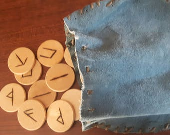 Blue suede drawstring rune pouch with hand made runestaves
