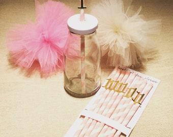 First birthday pink girls paper straws
