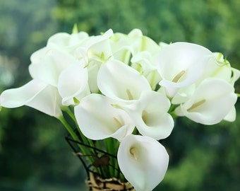 10 Pcs Artificial PU Real Touch Calla Lily Bouquet