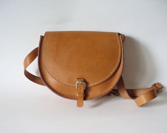 Vegetable tanned leather Messenger bag hand-sewn/bag MOON