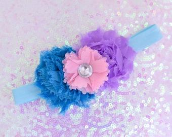 Blue, Purple, and Pink Shabby Headband // Shabby Headband // Flower Headband