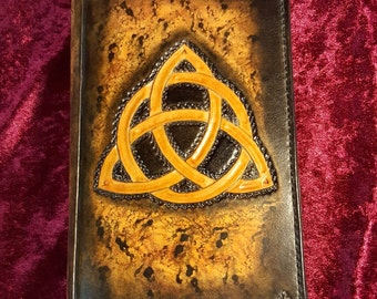 "Celtic theme ""Triquetra"" leather book covers"