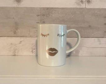 lashes + lipstick mug