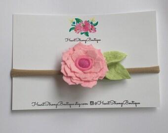 Pink flower, little girl headband, toddler headband, toddler flower headband, girl flower headband, little girl flower headband, felt flower