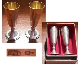 Traditional Russian footed vodka cup, solid silver vodka cup, vodka cup from Kiev 1953, video here - https://youtu.be/xG2NcEZCXKg