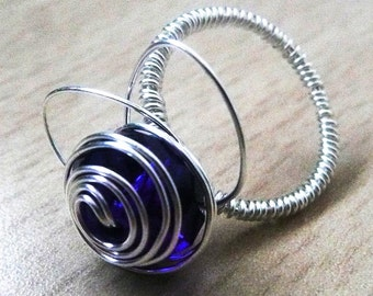 Ring wire Blue rose