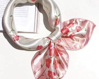 Women Floral Neckerchief, Flower Scarf, Summer Scarf NEW, SALE