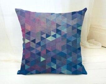Cushion Cover, Geometric Cushion, Blue Pillow Cover, Digital Print Cover