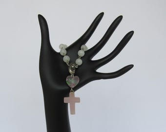 White and Pink Single Decade Rosary