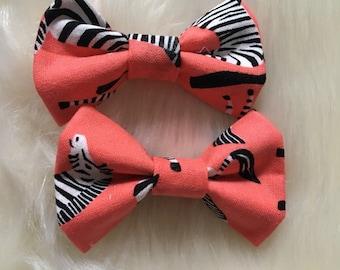 Zebra Baby Bow. Nylon Headband. 100% Cotton Fabric. Handmade.