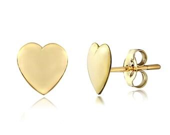 14 k solid gold heart shape stud earring