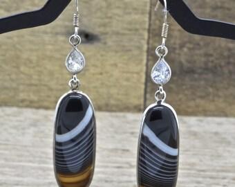 Estate Sterling Silver Botswana Agate Earrings Dangle Earrings 925 Jewelry