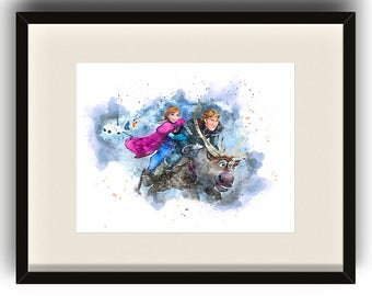 Disney Frozen Watercolor DIGITAL Print - Anna, Christoff, Olaf and Sven - Home Decor - Bedroom - Kids Room - Nursery - Play Room - Fever