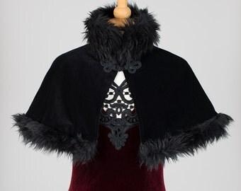 Fur Trimmed, Black Velvet Shoulder Cape / Caplet *SALE*