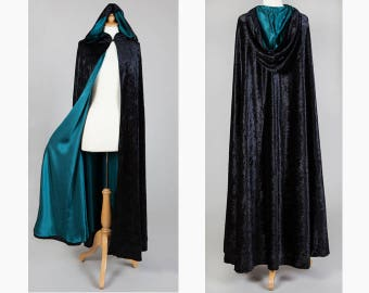 Black Velvet Cloak With Poison Green Satin Lining - Gothic / Pagan / Handfasting