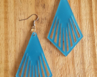 Blue Art Deco acrylic laser cut earrings