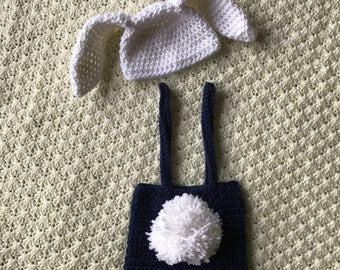 Easter newborn boy shorts with overalls and bunny hat