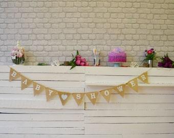 Baby Shower Banner, Personalized Shower Decor, 1st Birthday Banner, 1st Birthday Burlap Garland, Hessian Bunting