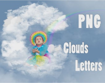 Cloud letters in PNG / Transparent alphabet / Write your name in clouds / Perfect for birthday invitations, baptisms, parties