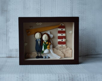 Wedding storybox, Personalized couple's gift, 3D art, Wedding gift, Home decor, In my little room