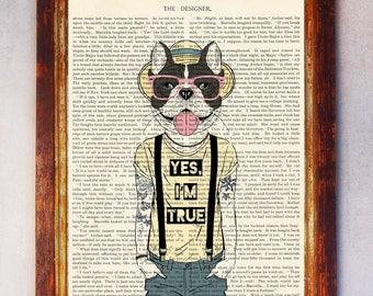 Bulldog with Tattoos Art Print, Hipster Bulldog, Bulldog Wall Art, Book Art Bulldog Print, Animal Print, Bulldog Artwork, Bulldog Poster