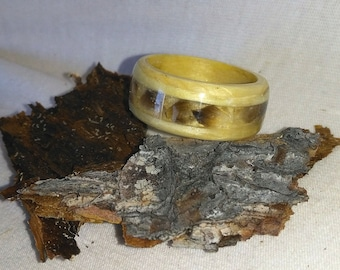 Wood Ring Caribou hoof and Spruce All Alaskan bentwood ring, Natural Jewelry, Custom Ring, Wood Rings, Anniversary Rings