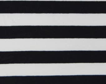 Black/ White Striped Stretch Fabric