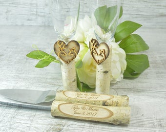 Toasting Glasses Flutes Rustic Cake Serving Set Personalized Knife Set Champagne Glasses Rustic wedding Set