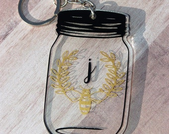 Mason Jar Keychain with Bee Laurel and Initial