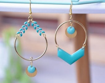 Golden hoop earrings with mint chain and pendant; Chic asymmetric earrings; Fantasy unpaired earrings; original and unique earrings for her